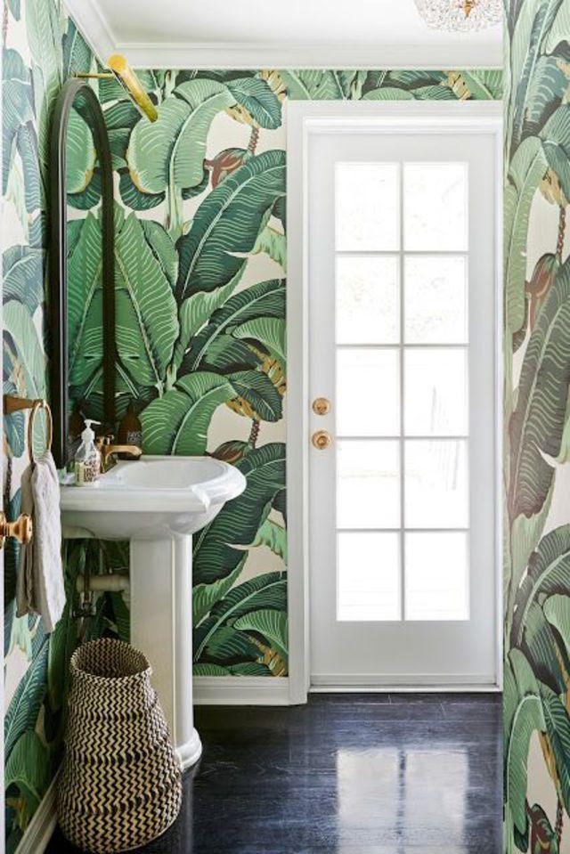 Papier peint nature salle de bain