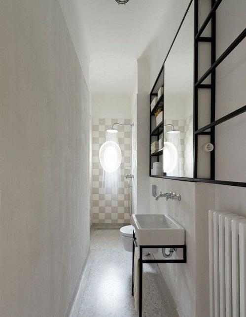Douche italienne salle de bain etroite