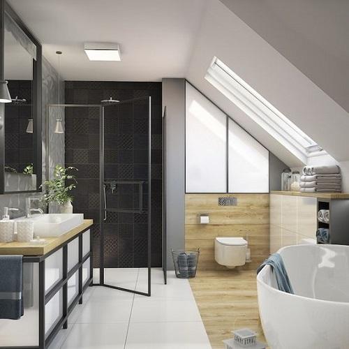 Salle de bain sous pente avec douche et baignoire