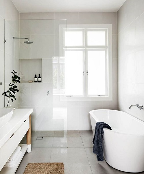 Baignoire ilot et douche italienne