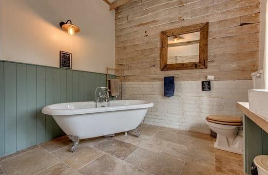 Baignoire ilot salle de bain style campagne