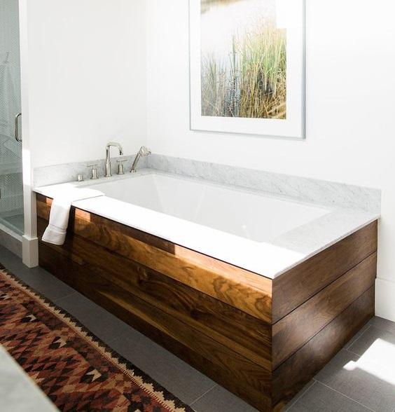Baignoire droite salle de bain design