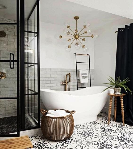 Carreaux de ciment sol salle de bain