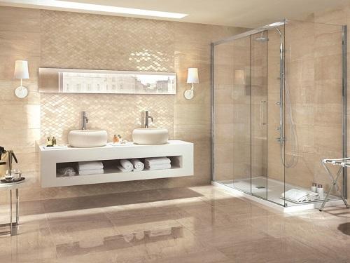Carrelage brillant salle de bain de luxe