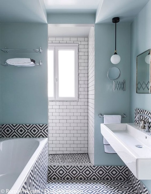 Carrelage salle de bain graphique noir et blanc