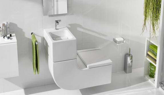 Wc suspendu avec lave mains intégré