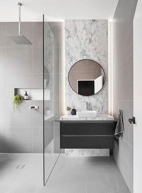 Modèle de petite salle de bain avec douche à l\'italienne ...