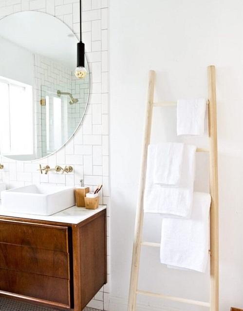 Etagère echelle pour salle de bain