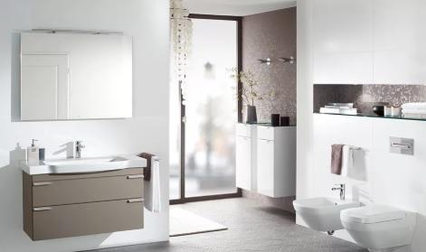 Meuble de salle de bain à deux niveaux