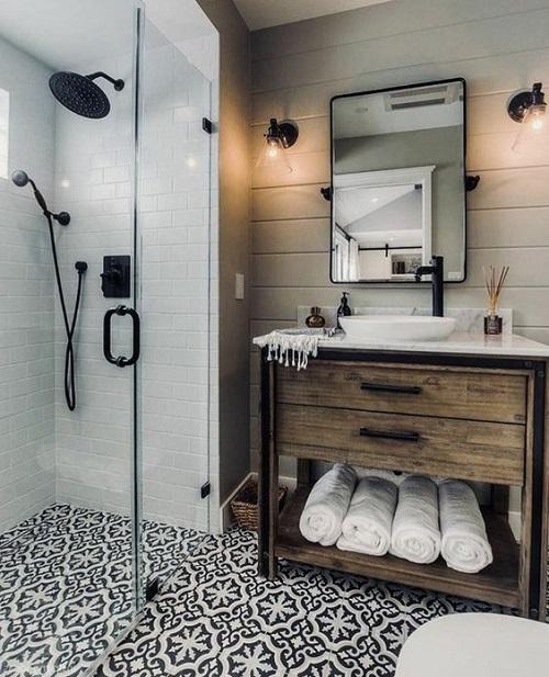 Meuble salle de bain avec carreaux ciment