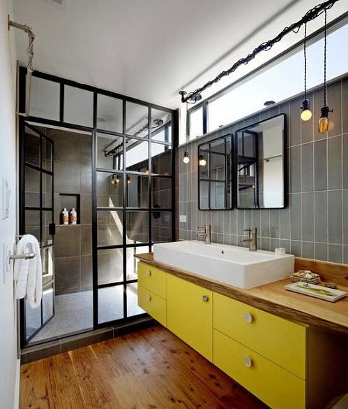 Meuble de salle de bain jaune