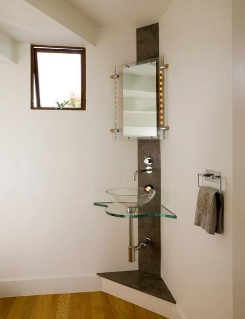 Meuble salle de bain en verre