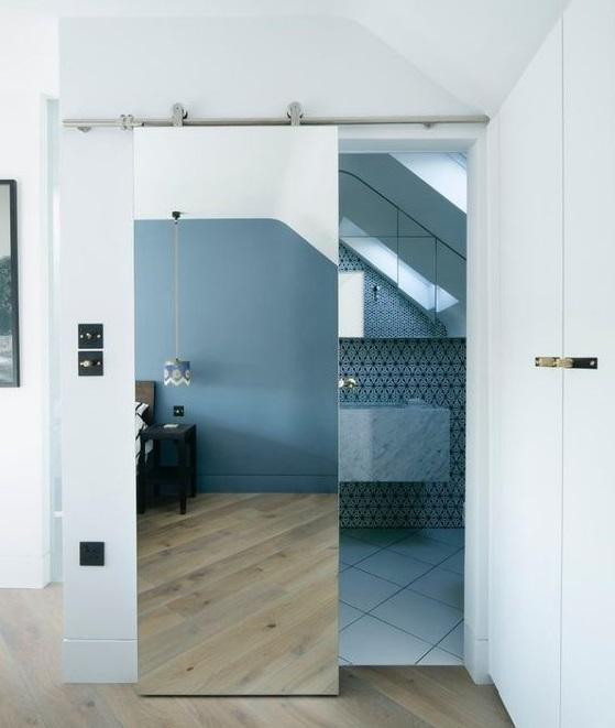 Porte coulissante miroir