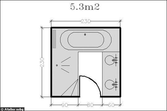 Plan de salle de bain avec douche