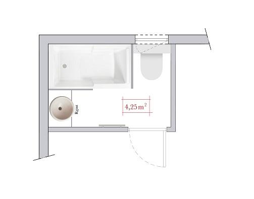 Plan de salle de bain de 5 m²