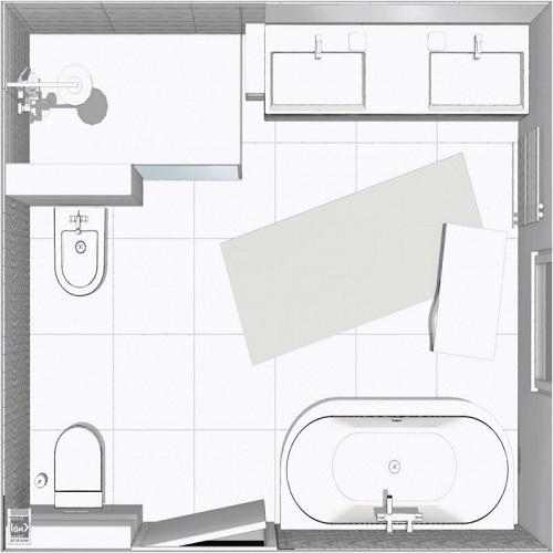 Plan salle de bain familiale