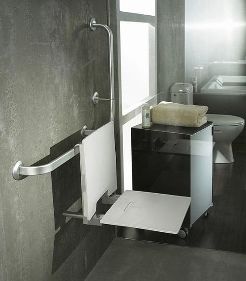 Barre d appui et siege de douche salle de ban pmr