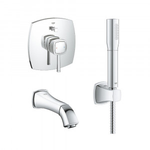 Lot complet robinet encastrable bain Grohe Grandera - Chrome