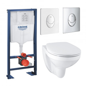 Pack wc suspendu Grohe Bau Ceramic bati support Grohe Rapid SL plaque Grohe Skate Air