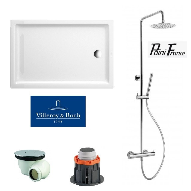 receveur douche recatngulaire villeroy et boch avec colonne douche paini. Black Bedroom Furniture Sets. Home Design Ideas