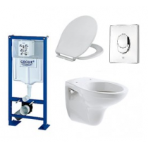 Lot Bati support Grohe, cuvette Allia, plaque de commande et abattant - Batinea - OGS Distribution