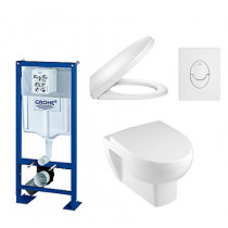 Bati support Grohe + Cuvette et abattant Jacob Delafon Odeon Up + Plaque de commande blanche - Batinea - OGS