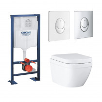 Pack wc suspendu sans bride caréné Grohe Euro Ceramic bati support Grohe Rapid SL