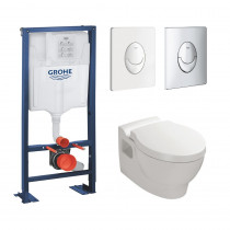 Pack wc suspendu Jacob Delafon Ove bati support Grohe Rapid SL plaque de commande