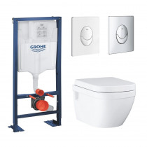 Pack wc suspendu sans bride Grohe Euro Ceramic bati support Grohe Rapid SL