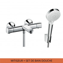 Pack Mitigeur thermostatique bain douche Hansgrohe Ecostat Universal complet