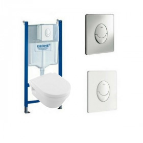 Wc suspendu Villeroy et Boch Architectura design rond Bati support Grohe