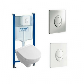WC suspendu sans bride Villeroy et Boch O'Novo version gain de place Bati support Grohe