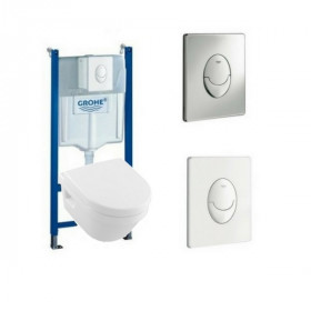 WC suspendu sans bride Villeroy et Boch Architectura design carré version gain de place Bati support Grohe
