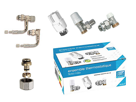 kit raccordement robinetterie radiateur eau acier kit sertir per 16 double panneaux robinet. Black Bedroom Furniture Sets. Home Design Ideas