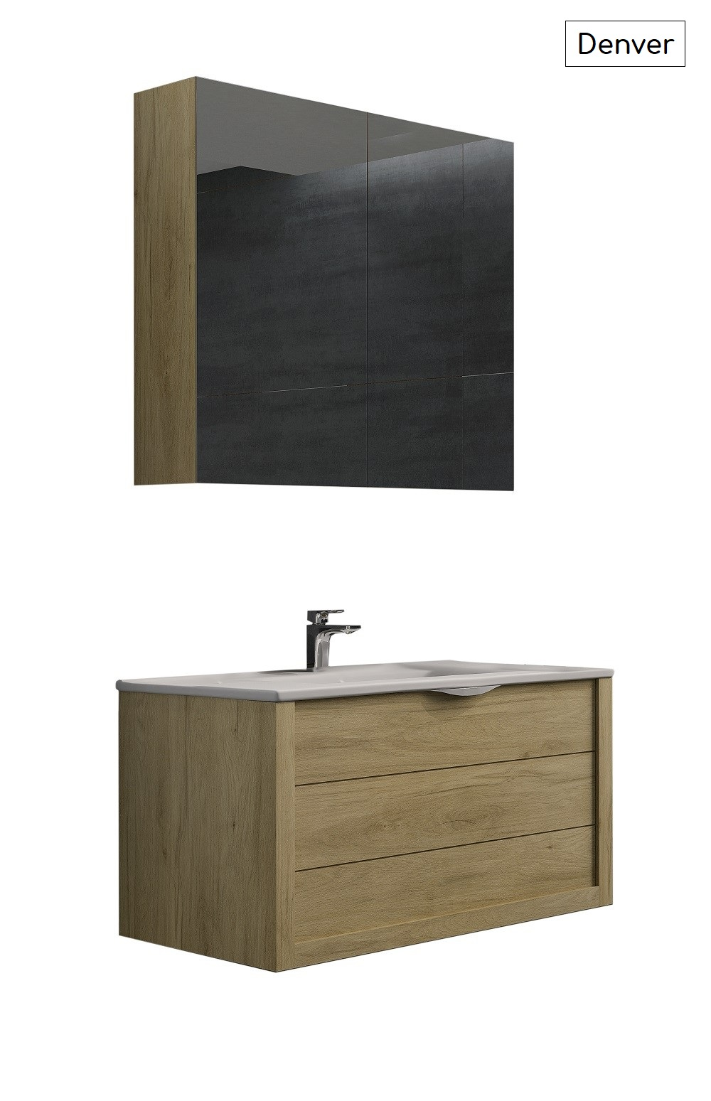 Batinea - Meuble de salle de bain Emma, Blanc, 60, Avec meuble miroir + applique, Avec colonne. Batinea - Meuble de salle de bain Emma, Blanc, 60, Avec meuble miroir + applique, Avec colonne