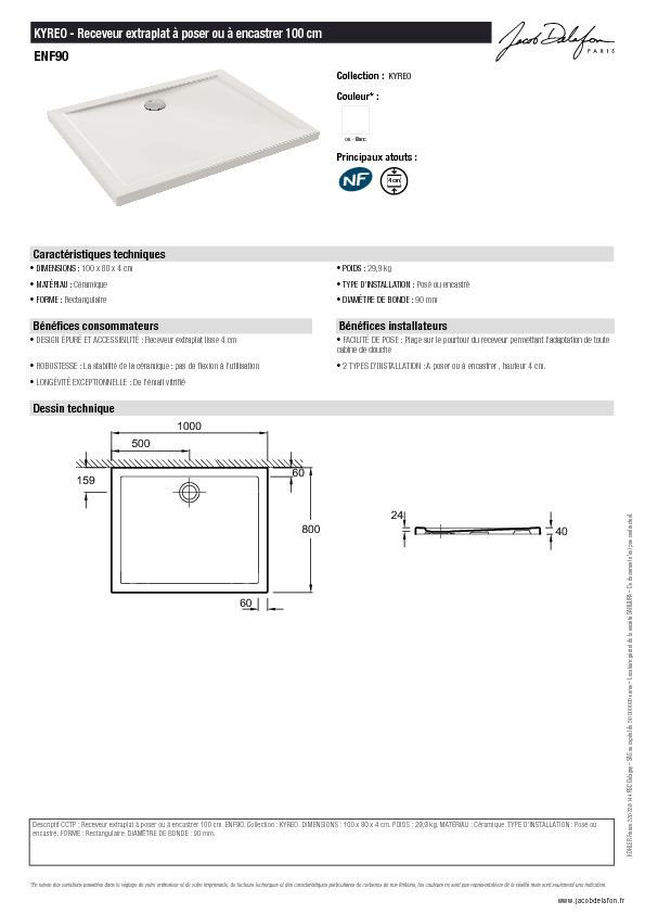 Fiche technique - Receveur rectangulaire 100x80 Kyreo Jacob Delafon