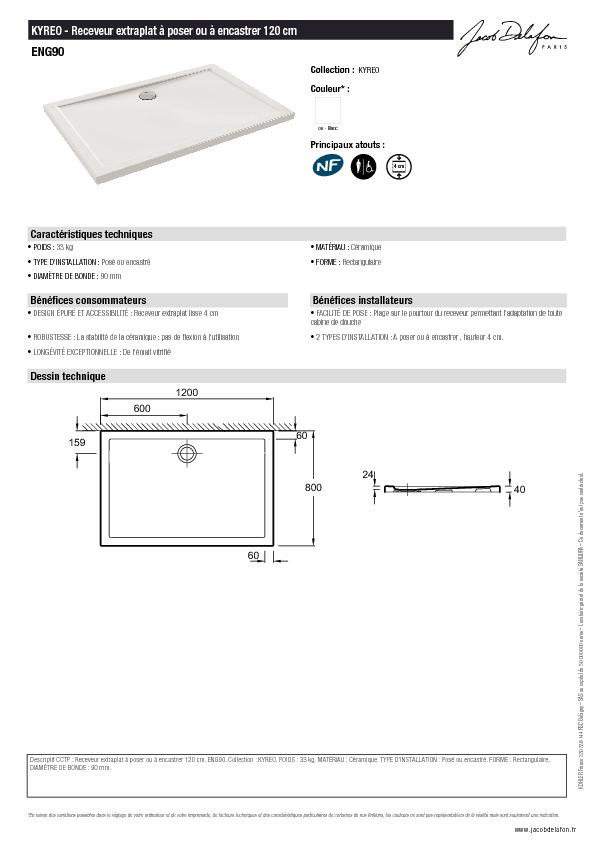 Fiche technique - Receveur rectangulaire 120x80 Kyreo Jacob Delafon