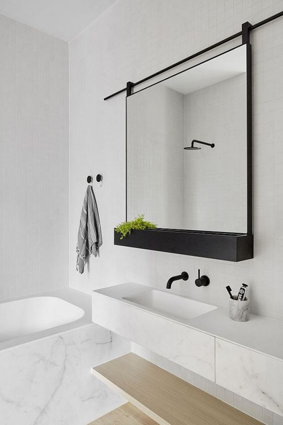 A quelle hauteur doit on fixer un meuble de salle de bain - Hauteur d un miroir de salle de bain ...